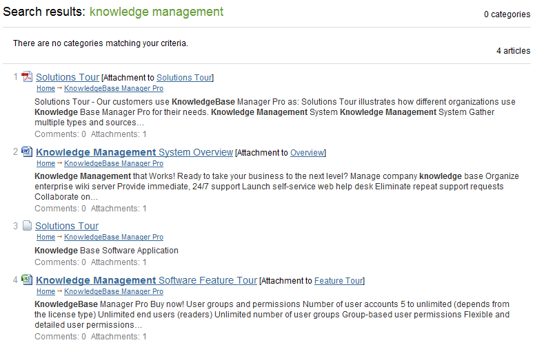 Highlighted words in knowledge base search results