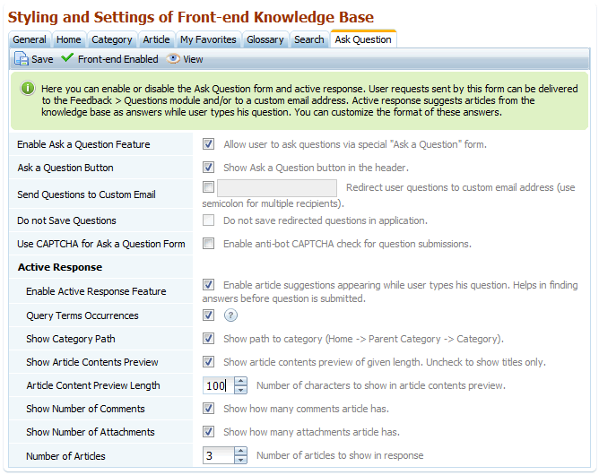 Active Response and Ask Question options in knowledge base software