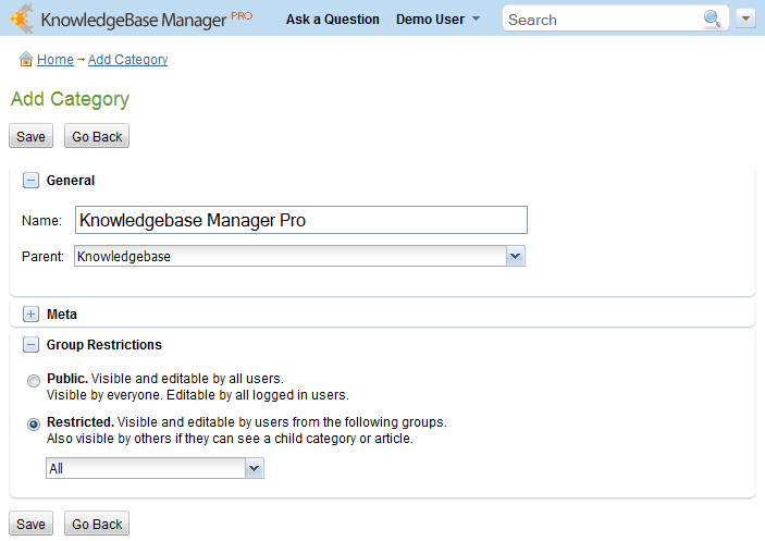 Add a category from the knowledge management systems front-end