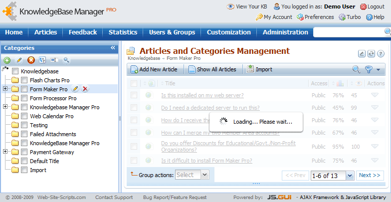 Ajax implementation in Knowledge Base Manager Pro