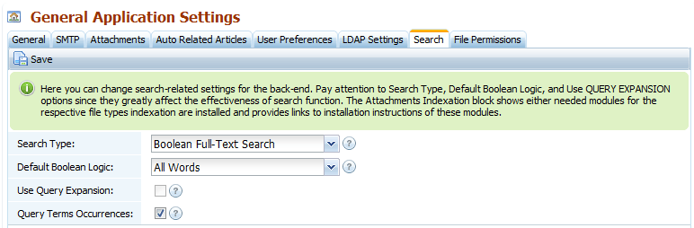 Back-end search settings for the knowledge base