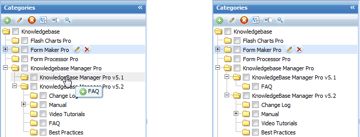Drag'n'dropping categories in Knowledge Management Solution