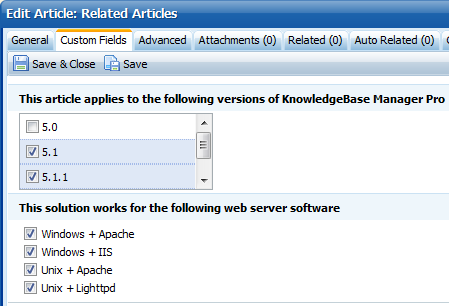 We edit custom fields in Knowledge Base Software