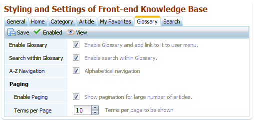Glossary settings in customer knowledge management system