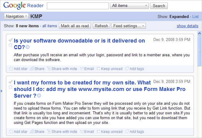 RSS feed in Google Reader