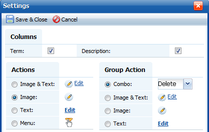 Group Action Settings