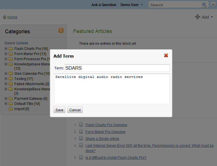 Quick add term at the knowledge base software front-end