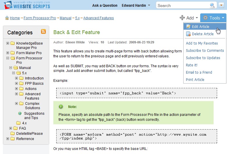 Edit article from the knowledge management system front-end