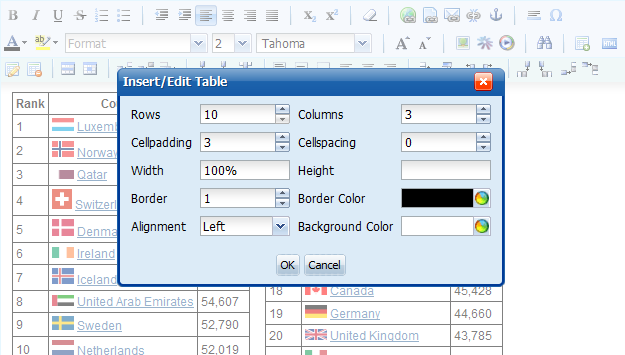 Table Creation/Edit Window in Knowledge Management Software