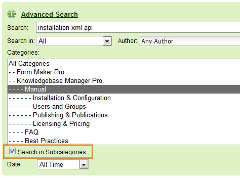 Search in subcategories. Frontend. Knowledge base software.