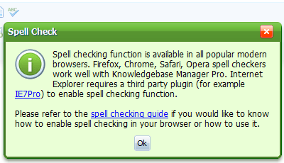 Spell check in knowledge base software.