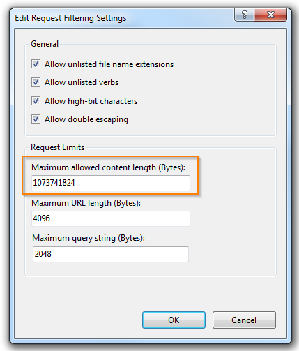 Increasing maximum allowed size for uploads on IIS7 | Web